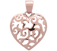 Bronzo Italia Polished Filigree Heart Pendant - J385963