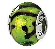 Prerogatives Sterling Green & Black Italian Murano Glass Bead - J111564