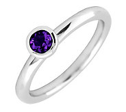 Simply Stacks Sterling 4mm Round Amethyst Solitaire Ring - J298764