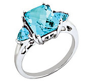 Sterling Octagonal Checkerboard Faceted Gemstone Ring - J310964