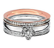 Simply Stacks Sterling Two-Tone Diamond FlowerRing Set - J312664