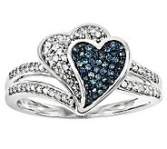 Blue & White Diamond Heart Ring, Sterling, 3/10by Affinity - J314464