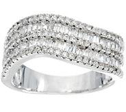 Diamonique Baguette Wave Design Ring, Sterling - J329864