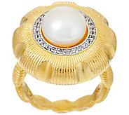 As Is Genesi 18k Clad Cultured Pearl & White Topaz Ring - J335264