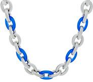 Judith Ripka Verona 18 Gemstone Sterling Link Necklace 78.0g - J348264