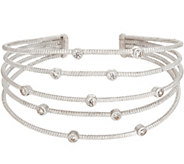 Diamonique Bezel Set Cuff Bracelet, Sterling - J354264