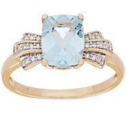 Elongated Cushion Aquamarine and Diamond Ring, 1.30 cttw, 14K - J355364