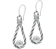 Or Paz Sterling Silver Cultured Pearl Textured Dangle Earrings - J356364