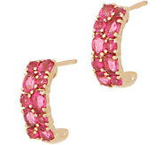 Tanzanian Pink Spinel Huggie Hoops, 1.20 cttw., 14K Gold - J357464