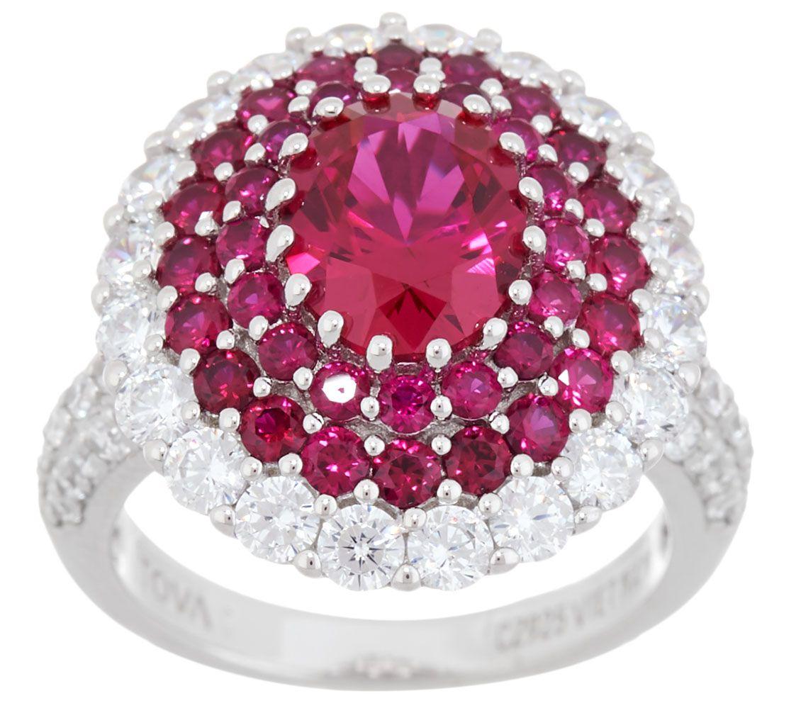 TOVA Diamonique Simulated Ruby Halo Ring, Sterling Silver — QVC.com