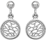 Italian Silver Web Pattern Circle Dangle Earrings, Sterling - J379864