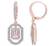 14K Gold 1.10 cttw Morganite & Diamond Lever Back Earrings - J382464
