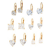 Diamonique Leverback Earrings, 14K Gold - J60464