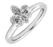 Simply Stacks Sterling & Diamond Fleur-de- LisRing - J299265
