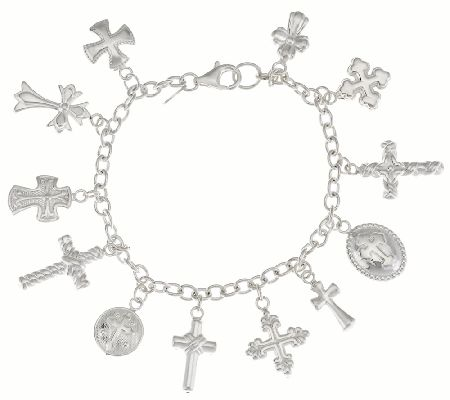 As Is Silver Style Sterling Cross Charm Bracelet Qvc