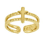 Polished Double-Row Cross Toe Ring, 14K Gold - J336465