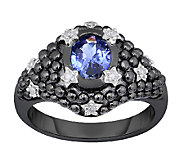 1.10 cttw Tanzanite & Diamond Ring, Black-Plated Sterling - J338665