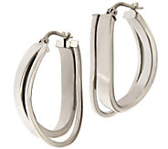 Italian Silver Sterling Polished Double Twist H oop Earrings - J341965