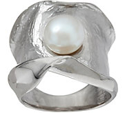 Honora Cultured Pearl Sculpted Satin Band Ring Sterling - J348365
