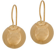 14K Gold 12mm Polished Bead Dangle Earrings w/Secura Catch - J351065
