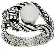 Or Paz Sterling Silver Cultured Pearl Textured Ring - J356365