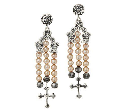 As Is American West Sterling Cultured Pearl & Cross Earrings