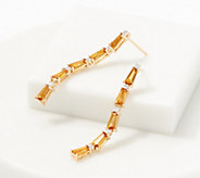 Baguette Gemstone & Diamond Drop Earrings, 1.80 cttw, 14K - J361665