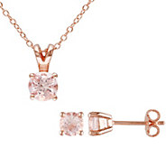 Sterling Rosetone Morganite Pendant & Earring Set - J375165