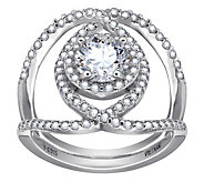 Diamonique Sterling Silver Round Halo CrossoverRing - J385665