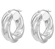 EternaGold Round Twisted Hoop Earrings 14K White Gold - J389665