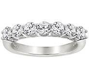 Diamonique 7 Stone Anniversary Band Ring, Platinum Clad - J111666