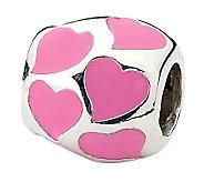 Prerogatives Sterling Pink Hearts Barrel Bead - J312766
