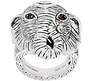 JAI Sterling Silver & 14K Gold Gemstone Figural Elephant Ring - J351066
