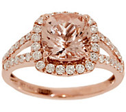 Cushion Cut Morganite and Diamond Ring, 2.00 cttw, 14K - J353366