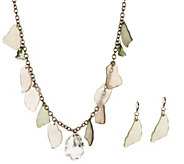 Linea by Louis DellOlio New Beach Glass Necklace & Earring Set - J354366