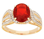 Red Fire Opal and Diamond Ring, 1.35 cttw 14K - J355366