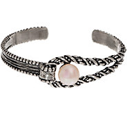 Or Paz Sterling Silver Cultured Pearl Textured Cuff 18.0g - J356366