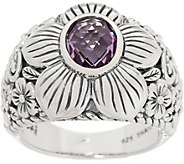 JAI Sterling Silver & Gemstone Carved Floral Ring - J356766