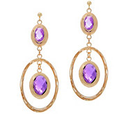 Arte dOro 20.00 cttw Amethyst Oval Dangle Earrings, 18K - J357266