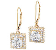 Diamonique 100-Facet Halo Leverback Earrings, 14K Gold Clad - J358066