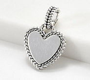JAI Sterling Silver Heart Charm/Enhancer - J361266