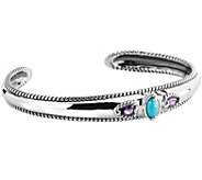 Carolyn Pollack Amethyst & Sleeping Beauty Turquoise Cuff - J377366
