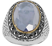 Suspicion Sterling Marcasite Mother-of-Pearl Doublet Ring - J379366