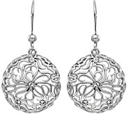 Italian Silver Floral Crystal Dangle Earrings,Sterling - J379666
