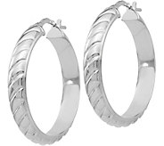 Italian Silver Textured Hoop 1-1/4 Earrings, Sterling - J380066