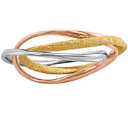 Sterling, 14K Gold & Rose Gold-Plated Intertwined Rolling Rin - J380166