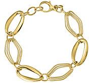 Italian Gold Polished & Textured Oval Link Bracelet 14K, 8.5g - J382066