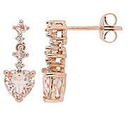 14K Gold 1.45 cttw Morganite Heart Drop Earrings - J382466