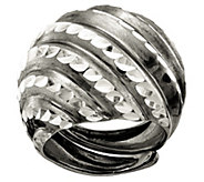 Italian Silver Diamond Cut Domed  Adjustable Ring - J382766