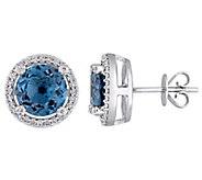 14K 4.55 cttw London Blue Topaz & 1/5 cttw Diamond Earrings - J392266